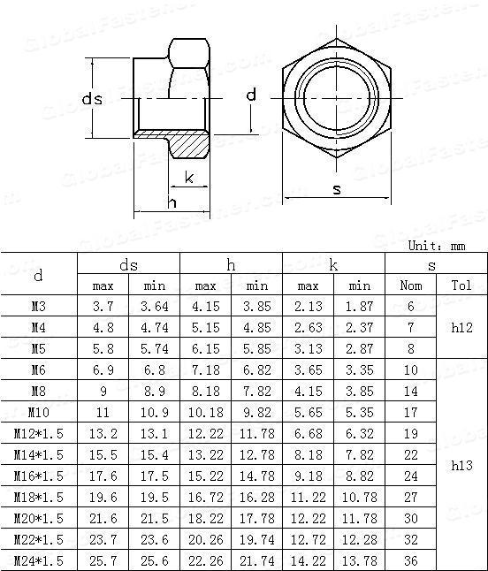 GB /T 1337-1988(GB1337-1977) Hexagon self-locking nuts